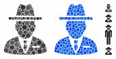 Spy Person Composition Of Round Dots In Different Sizes And Color Tints, Based On Spy Person Icon. V poster
