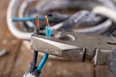 Old Copper Electric Wire And Combination Pliers. Electrical Installation Repair. poster