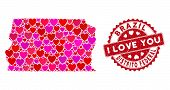 Love Collage Brazil Distrito Federal Map And Grunge Stamp Seal With I Love You Message. Brazil Distr poster