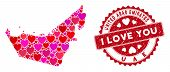 Love Collage United Arab Emirates Map And Rubber Stamp Watermark With I Love You Caption. United Ara poster