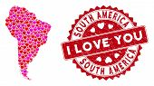 Valentine Collage South America Map And Rubber Stamp Seal With I Love You Caption. South America Map poster