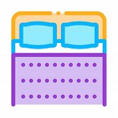 Comfortable Double Bed Icon Vector. Outline Comfortable Double Bed Sign. Isolated Contour Symbol Ill poster