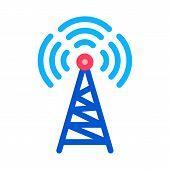 Radio Tower Antenna Icon Vector. Outline Radio Tower Antenna Sign. Isolated Contour Symbol Illustrat poster