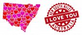Love Collage New South Wales Map And Distressed Stamp Seal With I Love You Message. New South Wales  poster