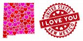 Love Collage New Mexico State Map And Rubber Stamp Watermark With I Love You Words. New Mexico State poster