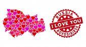 Love Mosaic Novosibirsk Region Map And Grunge Stamp Seal With I Love You Phrase. Novosibirsk Region  poster