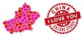 Love Collage Xinjiang Uyghur Region Map And Rubber Stamp Watermark With I Love You Phrase. Xinjiang  poster