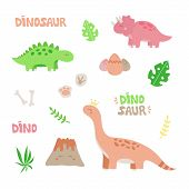 Prehistoric Dinosaur Vector Illustration Set. Hand Drawn Dinosaurs, Volcano, Plants, Eggs, Fossils A poster