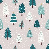 Cute Scandinavian Christmas Tree Seamless Pattern Background With Hand Drawn Snowy Fir Trees Forest poster