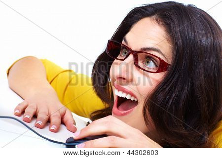 Business woman with laptop computer isolated on white background