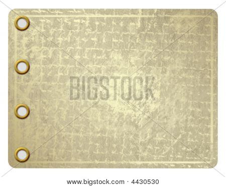 Grunge Leaf Of Aureate Paper With Gold Rivets