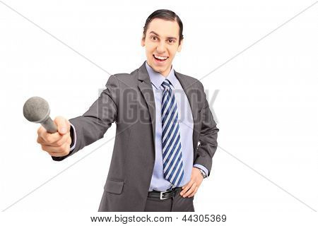 A professional male reporter holding a microphone isolated on white background