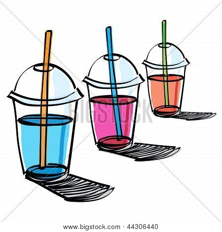 Beverage Cup With Drinking Straw