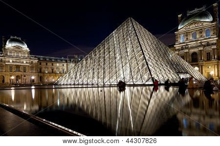 The Louvre Palace And The Pyramid, Paris At Night