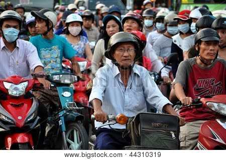 Chaotically traffic in Saigon, Ho Chi Minh, Vietnam