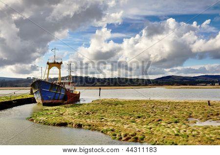 Boat on the Nith Estuary at Glencaple