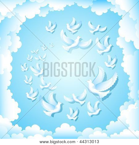 illustration of group of pigeon flying in sky