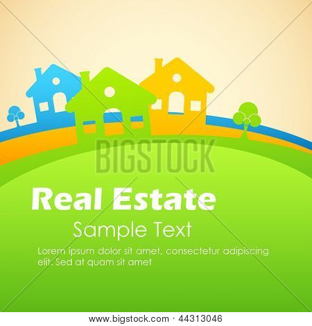 illustration of colorful house with tree on grassland
