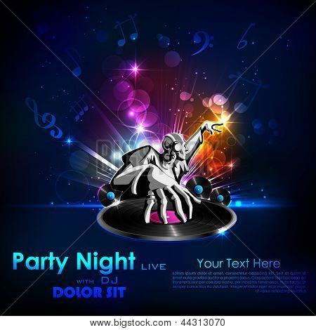 illustration of disco jockey playing music on abstract background