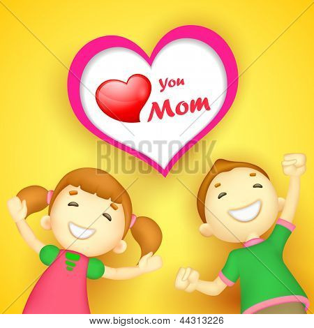 illustration of kids wishing Love you Mom