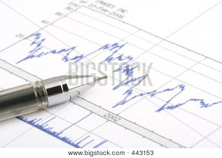 Ballpoint Pen On Stock Chart