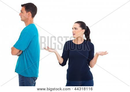 married couple having an argument over white background