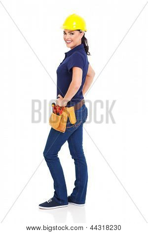 pretty female construction builder isolated on white