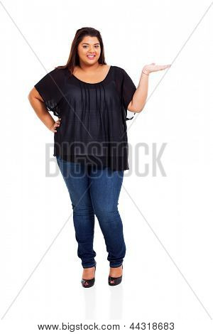 lovely plus size woman presenting on white