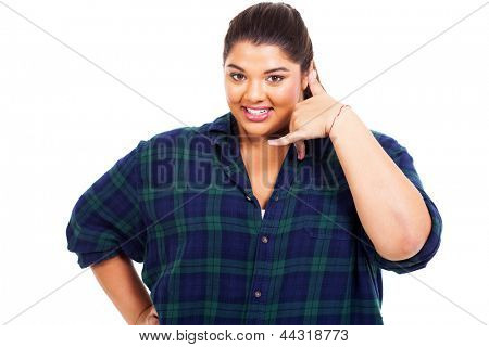 smiling plus size woman doing call me sign over white background