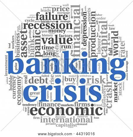 Banking crisis concept in word tag cloud on white background