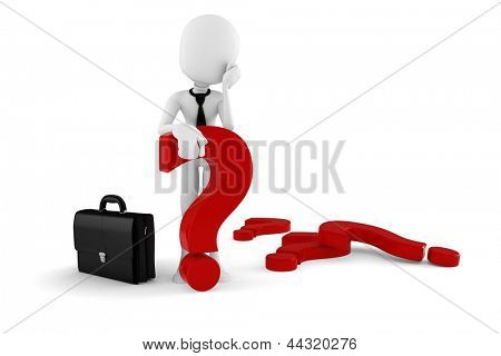 3d man businessman standing near a big red question mark, on white background
