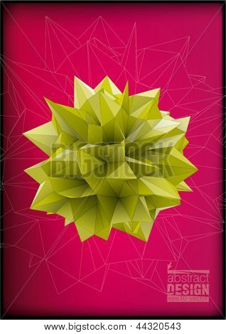 Polyhedron for graphic design. Low-poly style illustration