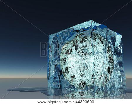 Clock frozen within ice