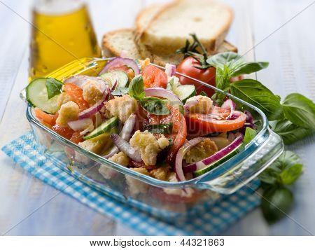 panzanella traditional tuscany salad, selective focus