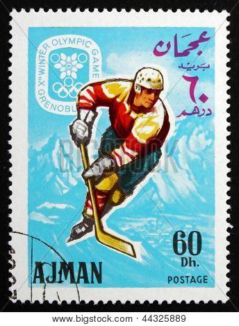 Postage Stamp Ajman 1967 Ice Hockey, Winter