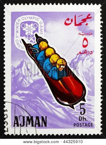 Postage Stamp Ajman 1967 Four-man Bobsled, Winter