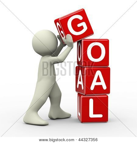 3D Man Placing Goal Cubes