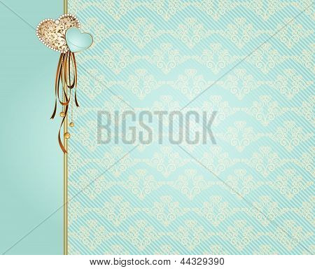 Blue vintage background with flowers and ornaments.