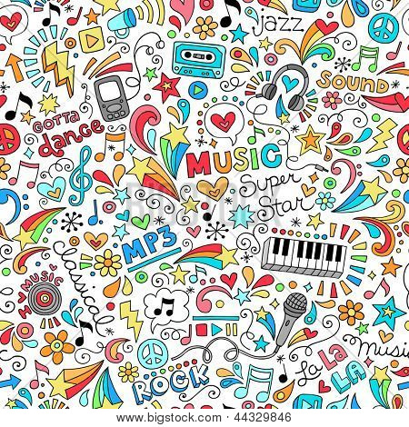Music Seamless Pattern Groovy Notebook Doodles Illustration