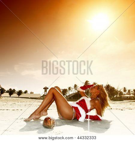 santa girl vocation on beach