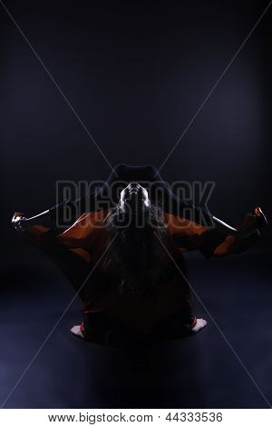 Young Romany Woman Dance Spanish Flamenco With Passion