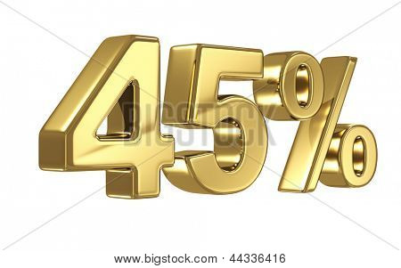 45% discount digits in gold metal, forty five percent off golden sign
