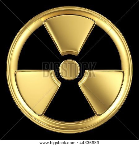 Radiation symbol made of gold isolated on black