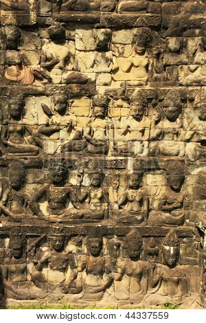 Decorative Wall Carving, Terrace Of The Leper King, Angkor Thom, Cambodia