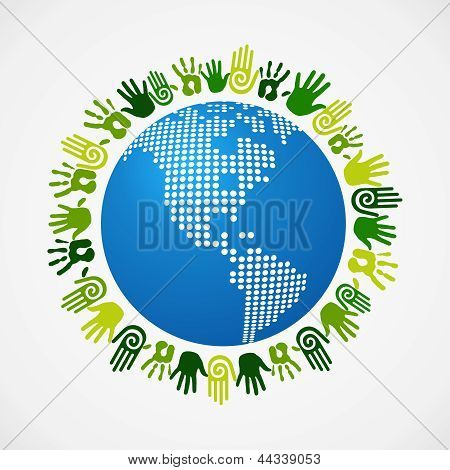 Go Green Diversity Human Hand American Map