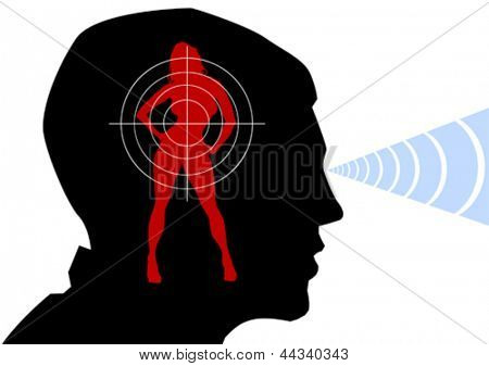 Vector drawing of a male head and female silhouette