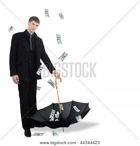 Man catching dollars by umbrella
