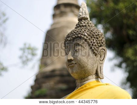 Beautiful Face Of Buddha At Watyaichaimongkol, Ayutthaya,thailand