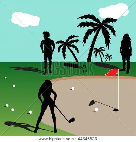 Menschen, die Golf spielen