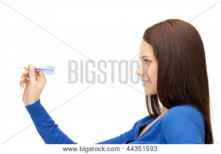 bright picture of confident businesswoman throwing dart..